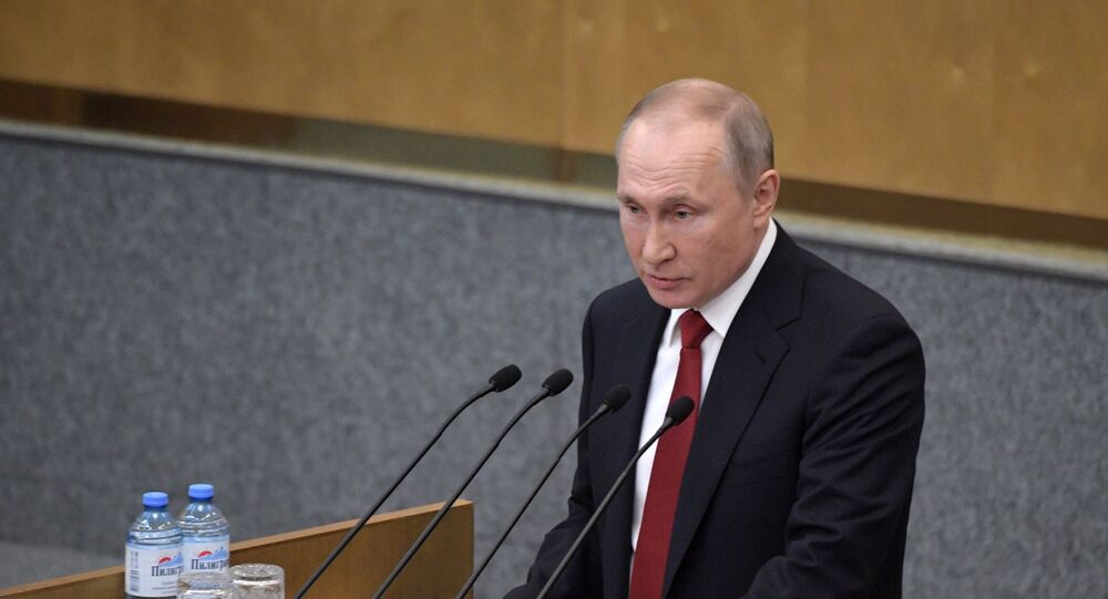 Russian President Vladimir Putin speaks at the plenary session of the State Duma of the Russian Federation