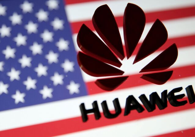 A 3D printed Huawei logo is placed on glass above displayed US flag in this illustration taken January 29, 2019.
