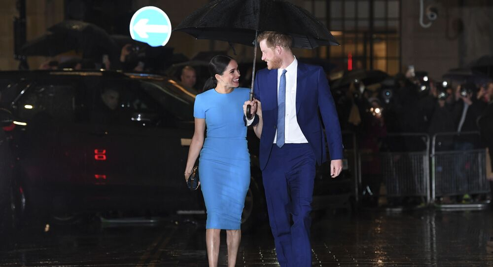 Britain's Prince Harry, Duke of Sussex (R) and Meghan, Duchess of Sussex arrive to attend the Endeavour Fund Awards at Mansion House in London on March 5, 2020.