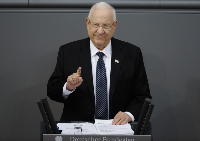 FILE - In this Jan. 29, 2020 file photo, Israel's President Reuven Rivlin delivers a speech during a special meeting of the German Parliament Bundestag commemorating the victims of the Holocaust, in Berlin, Germany