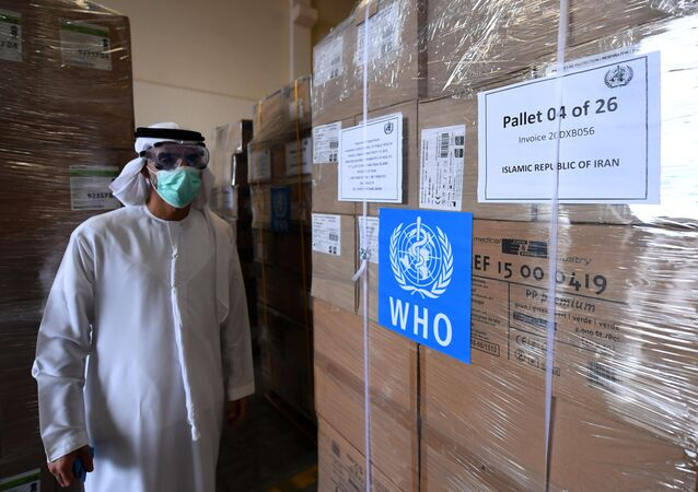 Tonnes of medical equipment and coronavirus testing kits provided bt the World Health Organisation are pictured at the al-Maktum International airport in Dubai on March 2, 2020 as it is prepared to be delivered to Iran with a United Arab Emirates military transport plane.