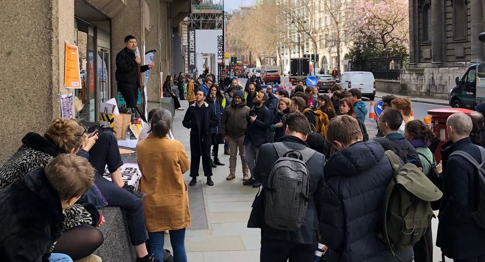 Photograph of Prevent teachout at King's College London picket line — credit: Amy De'Ath