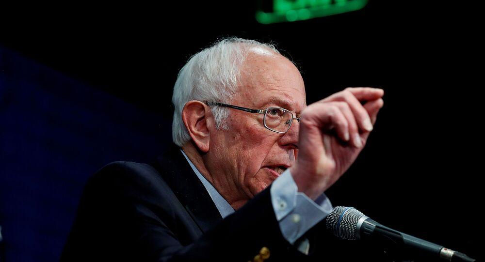 US Democratic presidential candidate Senator Bernie Sanders addresses a news conference in Burlington, Vermont, U.S., March 11, 2020.
