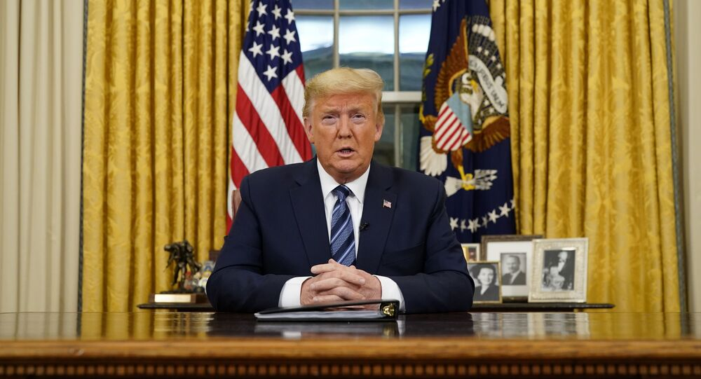 U.S. President Donald Trump speaks about the U.S response to the COVID-19 coronavirus pandemic during an address to the nation from the Oval Office of the White House in Washington, U.S., March 11, 2020.
