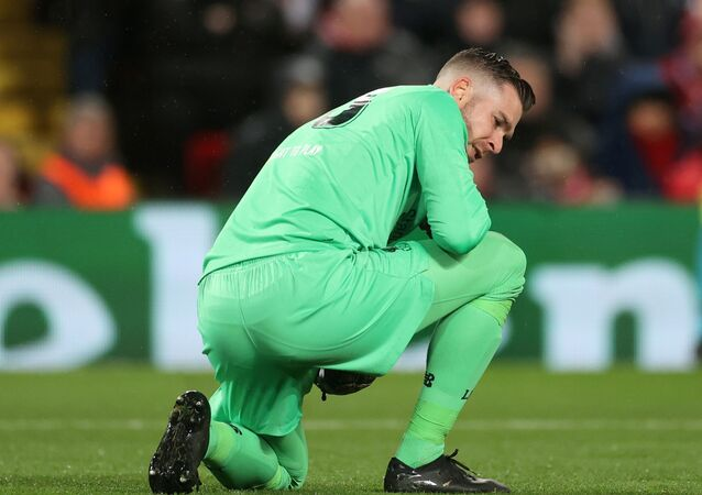 Soccer Football - Champions League - Round of 16 Second Leg - Liverpool v Atletico Madrid - Anfield, Liverpool, Britain - March 11, 2020  Liverpool's Adrian reacts  Action
