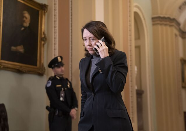 Sen. Maria Cantwell, D-Wash., arrives at the Senate for the start of the impeachment trial of President Donald Trump on charges of abuse of power and obstruction of Congress, at the Capitol in Washington, Tuesday, Jan. 21, 2020