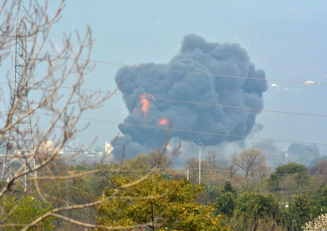 Smoke billows from the scene where a Pakistan Air Force F-16 fighter jet crashed in Islamabad, Pakistan March 11, 2020