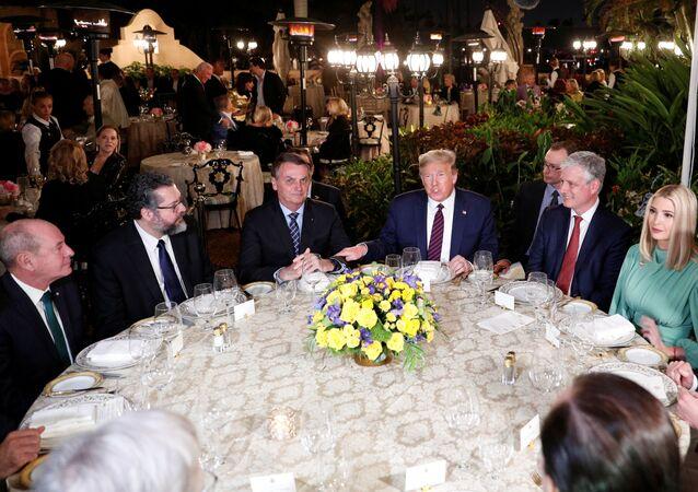 US President Donald Trump hosts a working dinner with Brazilian President Jair Bolsonaro at the Mar-a-Lago resort