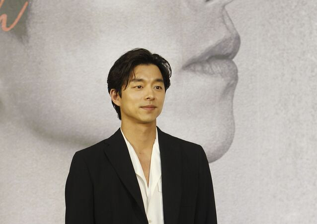 South Korean actor Gong Yoo poses during a media event for fans in Taipei