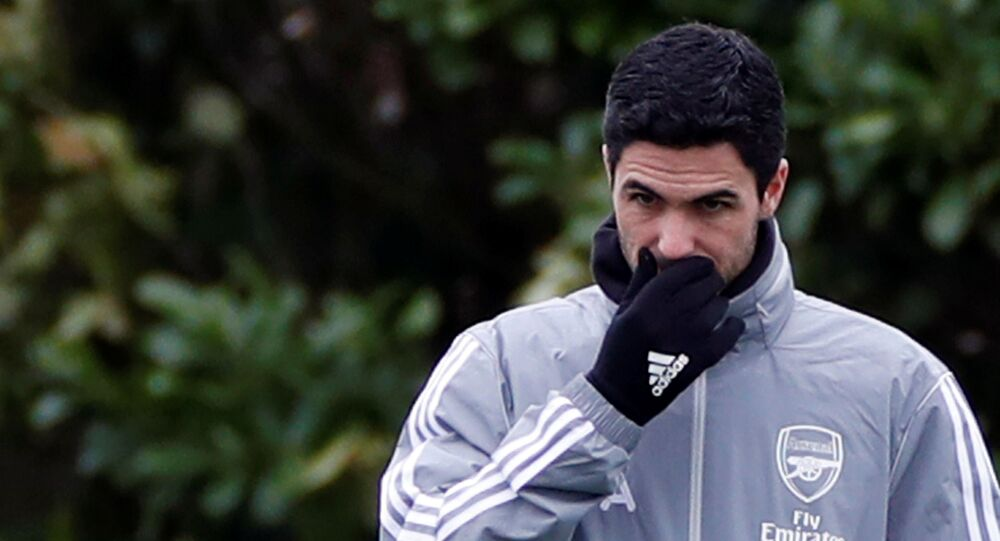 Arsenal manager Mikel Arteta during training