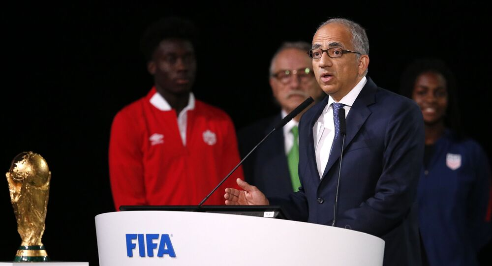 Carlos Cordeiro, the president of the United States Soccer Federation speaks at the FIFA congress on the eve of the opener of the 2018 soccer World Cup in Moscow