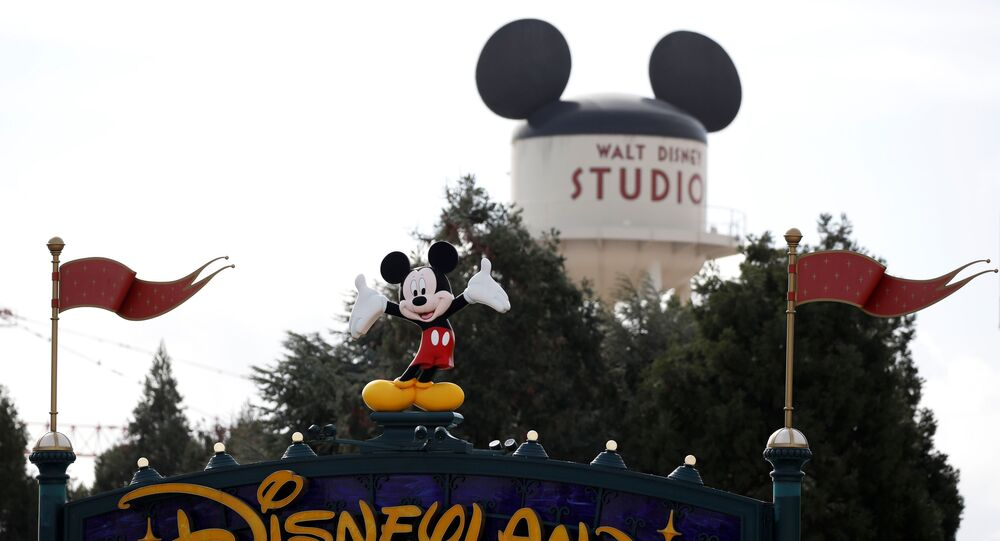 Disney character Mickey Mouse is seen above the entrance of Disneyland Paris