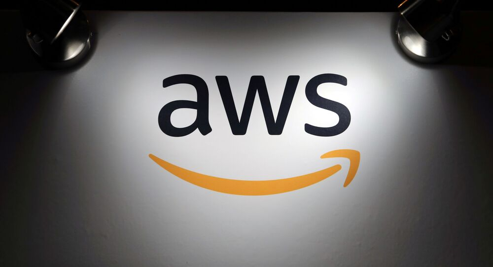 The logo of Amazon Web Services (AWS) is seen during the 4th annual America Digital Latin American Congress of Business and Technology in Santiago, Chile, September 5, 2018