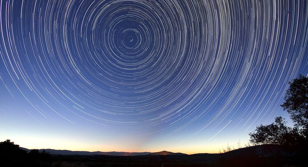 Stars appearing to whirl around Polaris