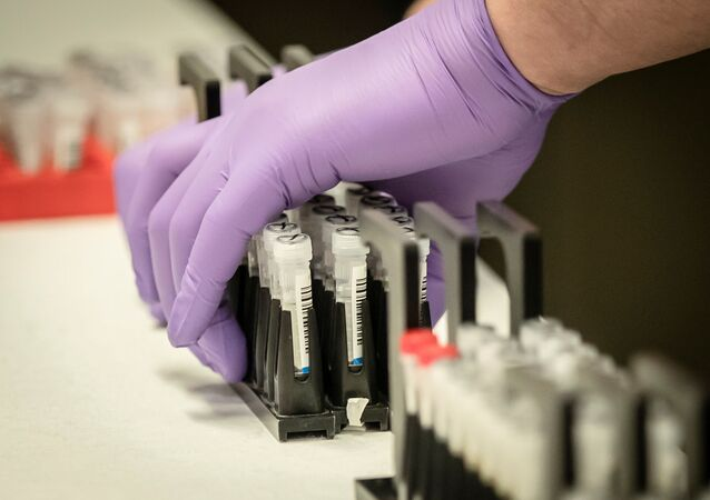 Samples are tested for respiratory viruses during a visit by Britain's Chancellor of the Exchequer Rishi Sunak