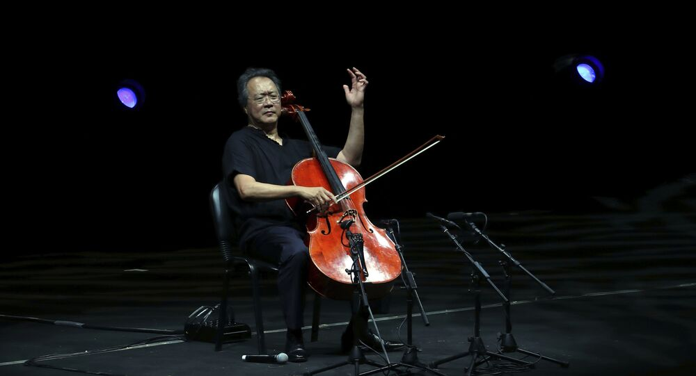 Cellist Yo-Yo Ma performs during the Byblos International Festival in the ancient city of Byblos, north of Beirut, Lebanon