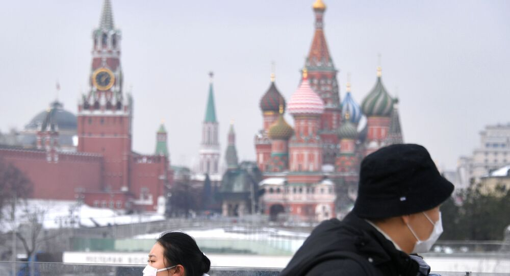 Tourists in Masks in Moscow