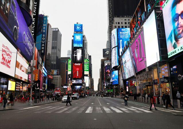 A nearly empty 7th Avenue in Times Square