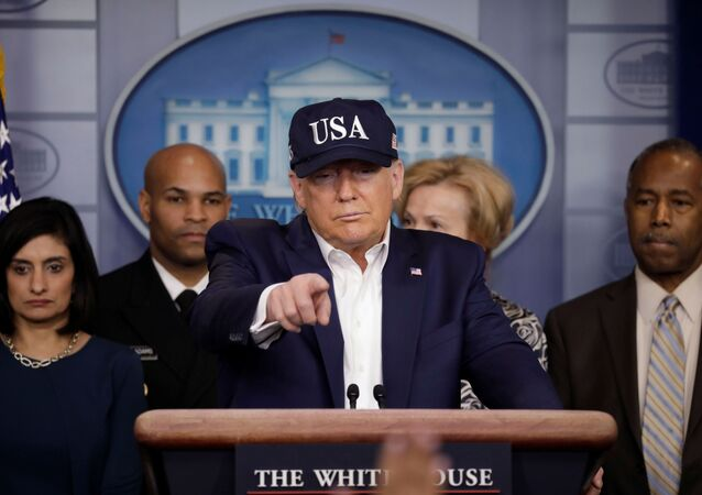 U.S. President Donald Trump holds a press briefing with members of the Coronavirus Task Force at the White House in Washington, U.S., March 14, 2020.