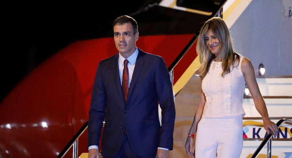 Spain's Prime Minister Pedro Sanchez and his wife Maria Begona Gomez Fernandez