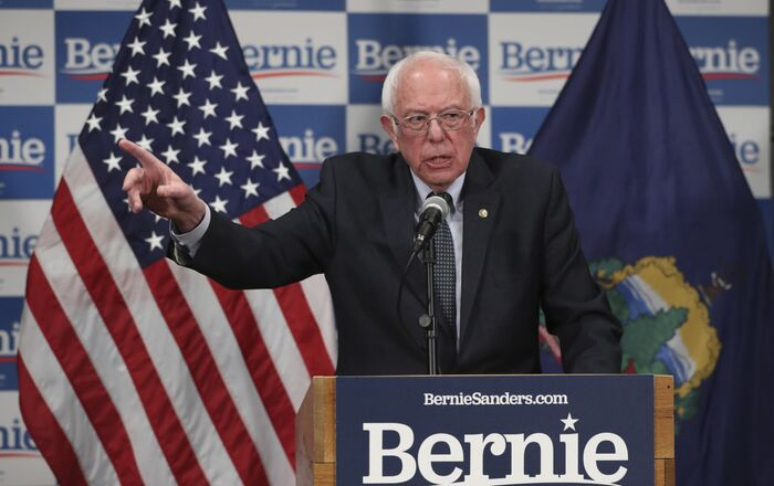 Democratic presidential candidate, Sen. Bernie Sanders, I-Vt., speaks to reporters about coronavirus Thursday March 12, 2020, in Burlington, Vt.