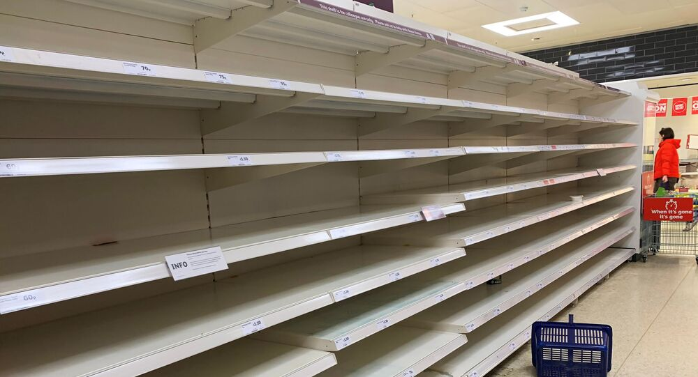 Empty shelves of pasta are seen at a supermarket, as the number of coronavirus cases grow around the world, in London, Britain March 13, 2020
