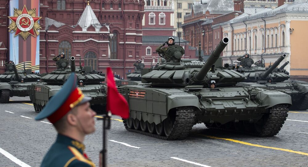 Russian tanks T-72 B3 drive during the Victory Day military parade