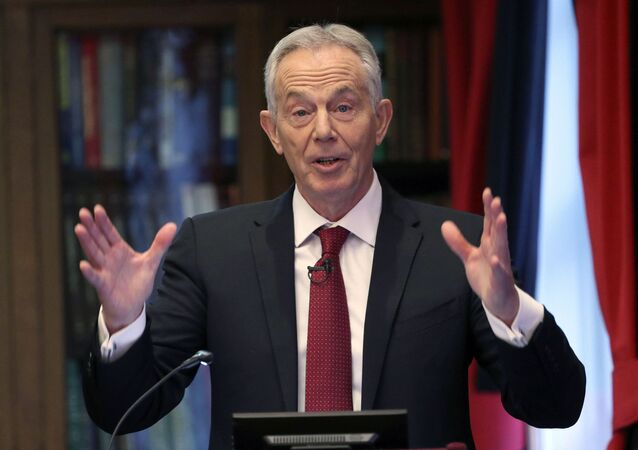 Former British prime minister Tony Blair gives a speech on the future of the Labour Party and progressive politics at the Hallam Conference Centre in central London, Wednesday Dec. 18, 2019.