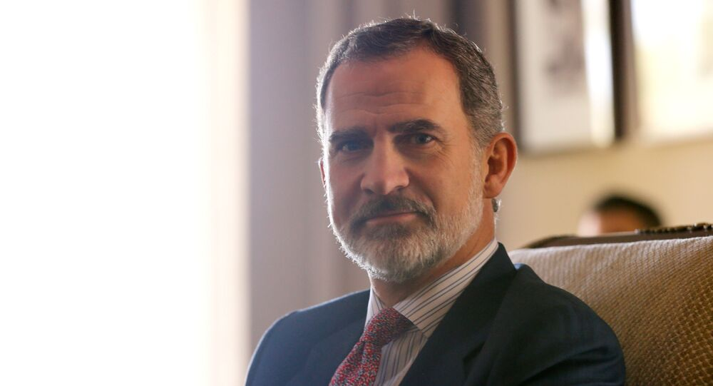 Spain's King Felipe VI poses in the residence of Uruguay's President elect Luis Lacalle Pou, a day before the swear in ceremony, in Canelones, Uruguay February 29, 2020.