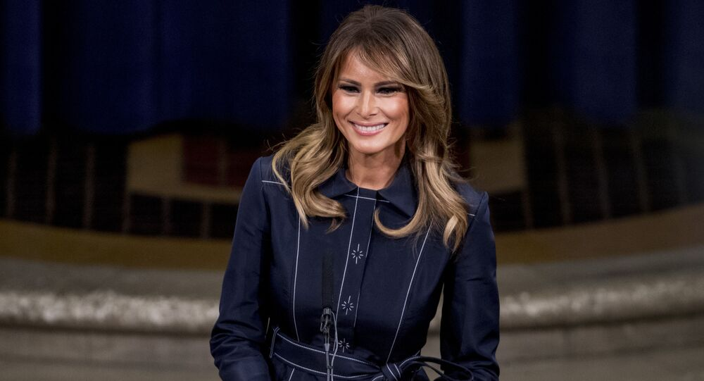 First lady Melania Trump smiles during a speech at the Justice Department's National Opioid Summit at the Department of Justice, Friday, March 6, 2020, in Washington