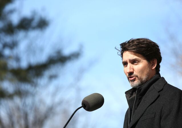 Canadian Prime Minister Justin Trudeau speaks during a news conference on COVID-19 situation in Canada from his residence on March 16, 2020 in Ottawa, Canada