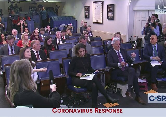 Social distancing seating in WH briefing room today during coronavirus response presser.