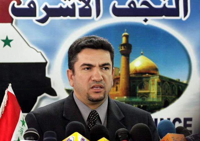 Governor of Najaf Adnan Al-Zurfi alleges electoral irregularities, which were denied by Najaf police chief Major-General Talib al-Jaza'eri, at a news conference in Najaf, Iraq Saturday, 5 Feb 2005.