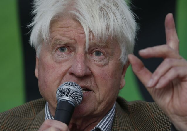 Stanley Johnson, father of the British Prime Minister Boris Johnson, speaks at a climate change event in October 2019.