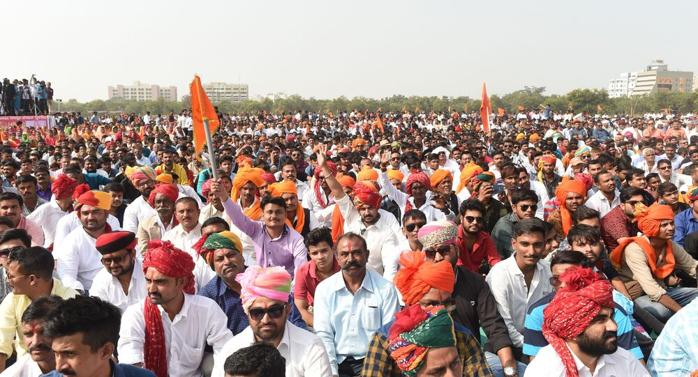 Supporters of Rajput Karni Sena shout slogans during a protest rally in Gandhinagar, some 30kms from Ahmedabad on November 12, 2017