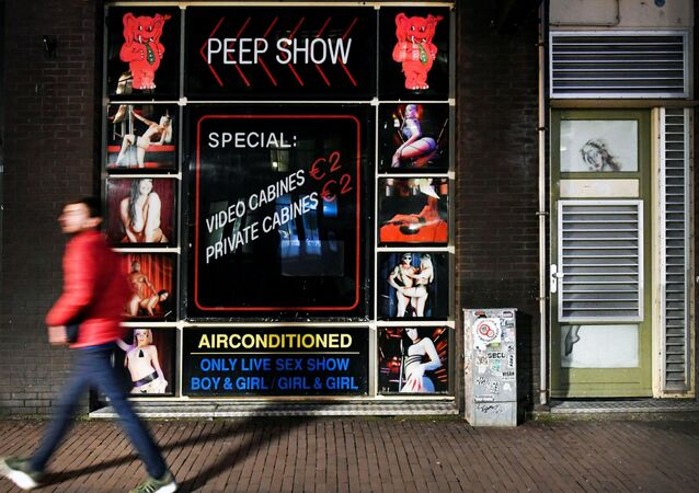 A sex club in Amsterdam's Red Light district closes its doors in response to a rapidly expanding coronavirus outbreak, in Amsterdam, Netherlands, March 15, 2020