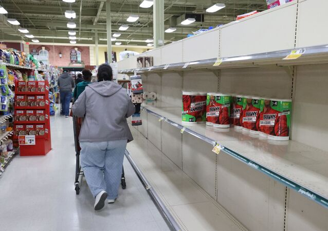 As the coronavirus continues to spread across the United States, stores like ShopRite had problems keeping up with the high demand for paper goods leading to empty shelves on March 14, 2020 in Uniondale, New York.