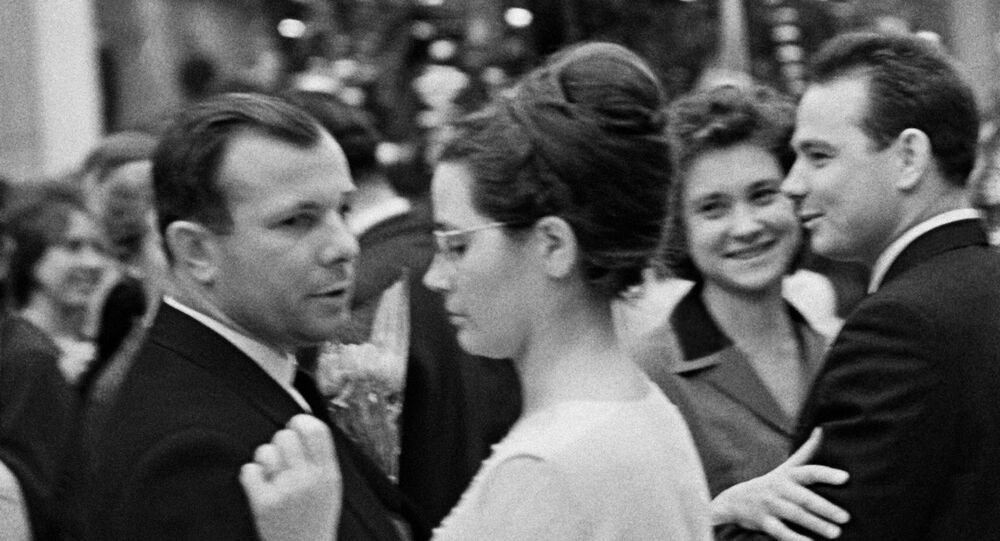 Yuri Gagarin with his wife Valentina at a New Year's holiday ball in 1964. File photo.