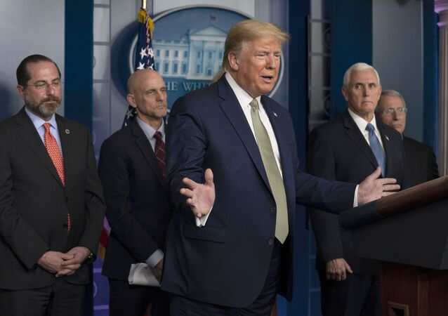 President Donald Trump speaks during a press briefing with the coronavirus task force, at the White House, Tuesday, March 17, 2020, in Washington.