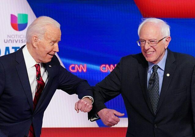 US vice president Joe Biden and Senator Bernie Sanders