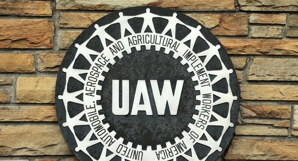 The United Auto Workers sign is pictured on Solidarity House in Detroit, Michigan