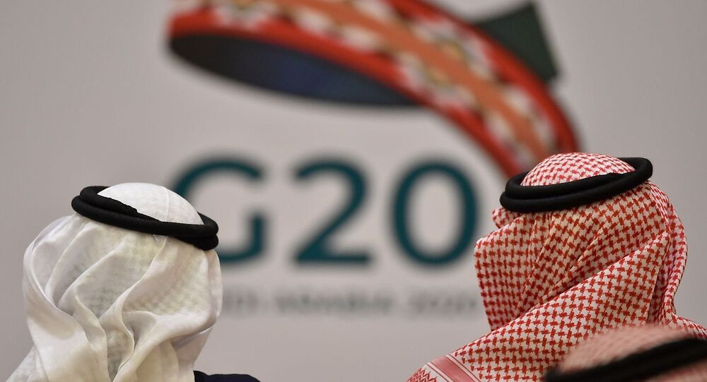 Unidentified guests attend a meeting of Finance ministers and central bank governors of the G20 nations in the Saudi capital Riyadh on February 23, 2020