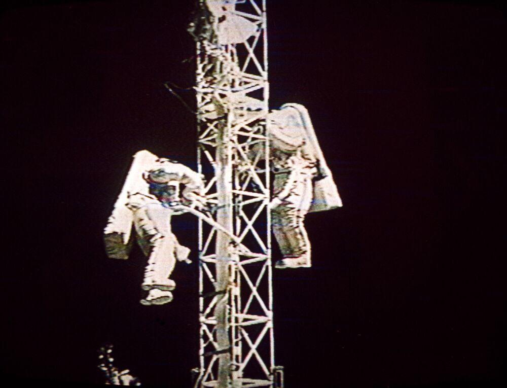 Spacewalk of Russian cosmonauts - crew members of the Mir orbital complex Victor Afanasyev and Sergei Avdeev.