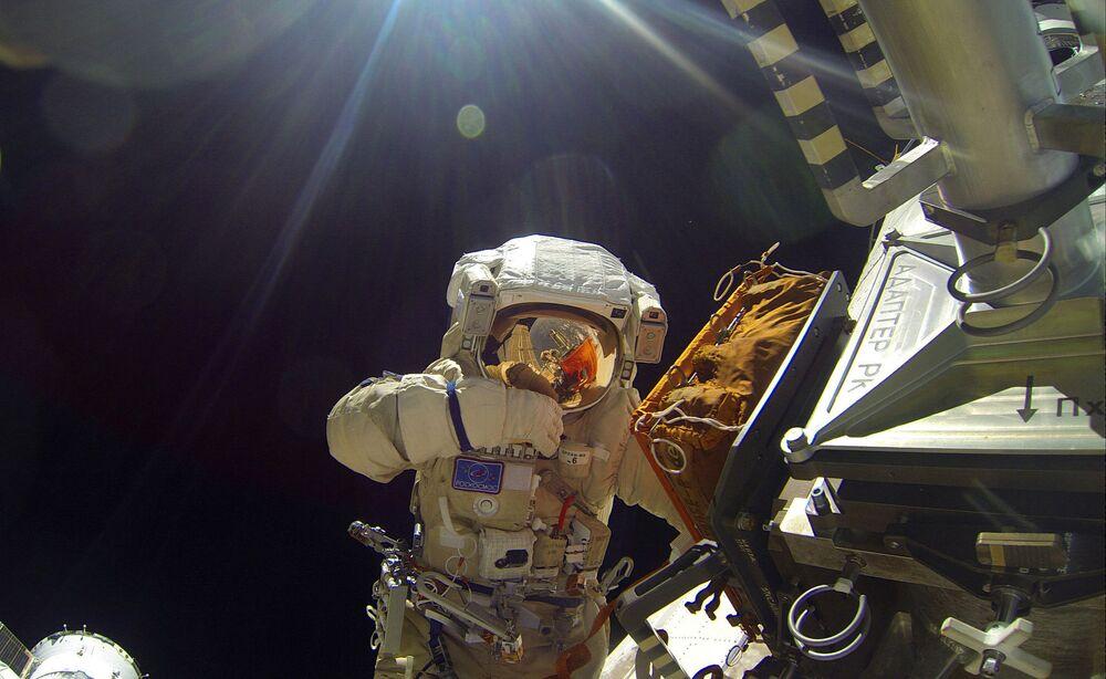 Cosmonauts of Roscosmos Sergei Volkov and Yuri Malenchenko made spacewalks on 3 February 2016.