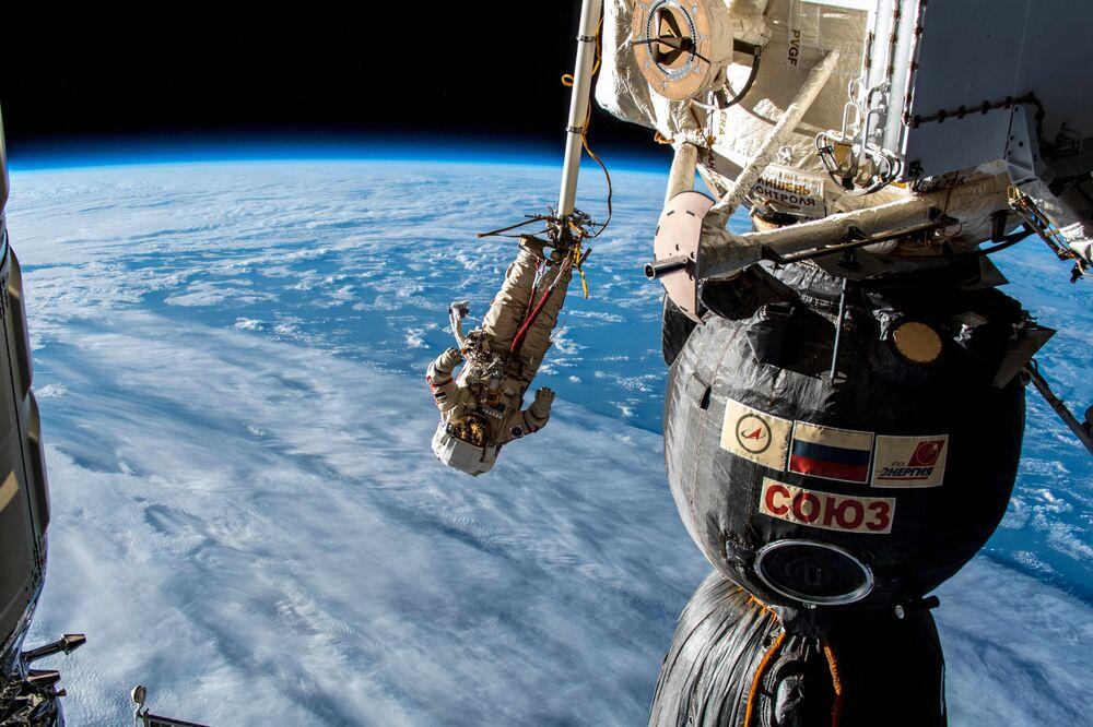 Cosmonaut during spacewalk