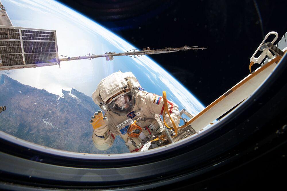 Russian cosmonaut during spacewalk