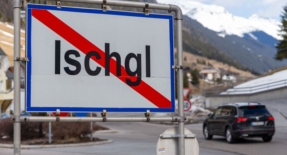 The town sign of Ischgl is seen on March 13, 2020, in Ischgl in Tyrol, Austria, as the winter season ends earlier this year due to the coronavirus epidemic