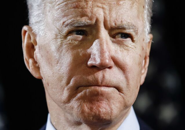 Democratic presidential candidate former Vice President Joe Biden speaks at a press conference in March 2020