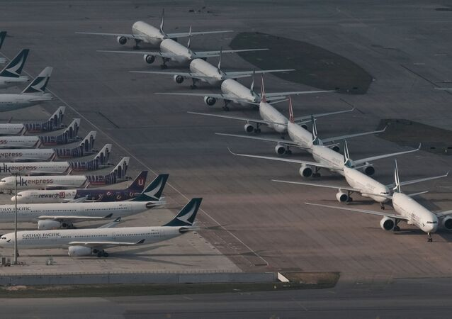 Cathay Pacific aircraft are seen parked  on the tarmac at the airport, following the outbreak of the new coronavirus, in Hong Kong, China March 5, 2020
