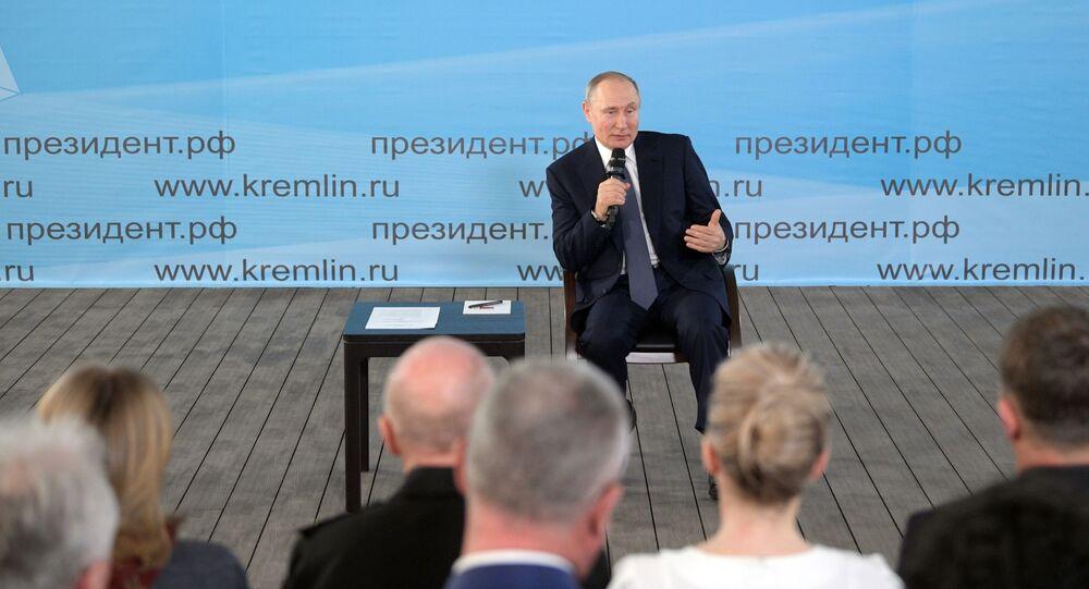 President Vladimir Putin on a working visit to Crimea, March 18, 2020.